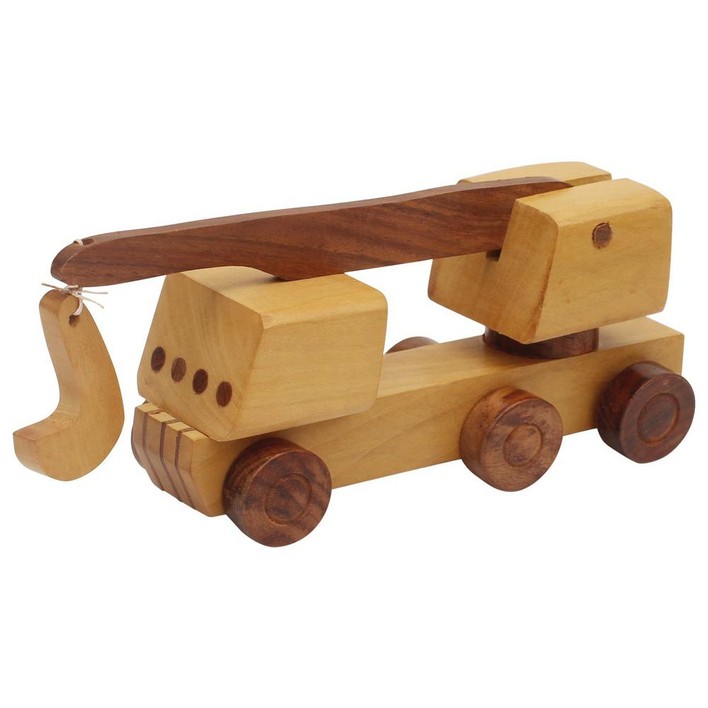 benzara handmade brown wooden kid's toy crane bm174941 - the