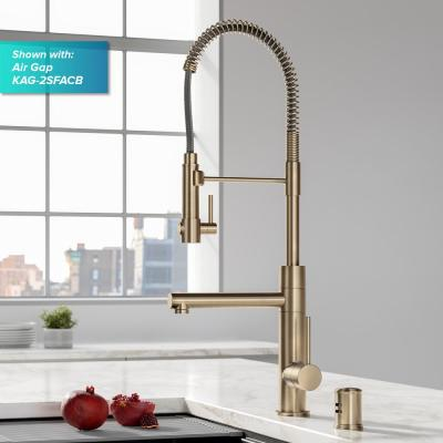 Artec Pro Single-Handle Kitchen Faucet with Sprayer and Pot Filler in Spot Free Antique Champagne Bronze and deck plate