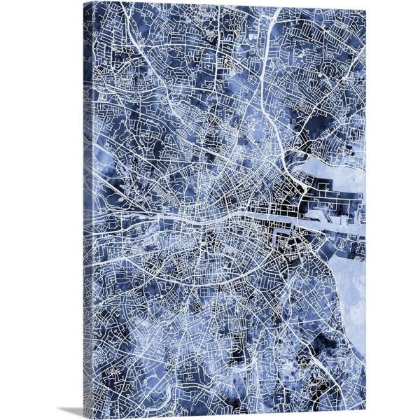 City Map Of Dublin Ireland.18 In X 24 In Dublin Ireland City Map By Michael Tompsett Canvas Wall Art