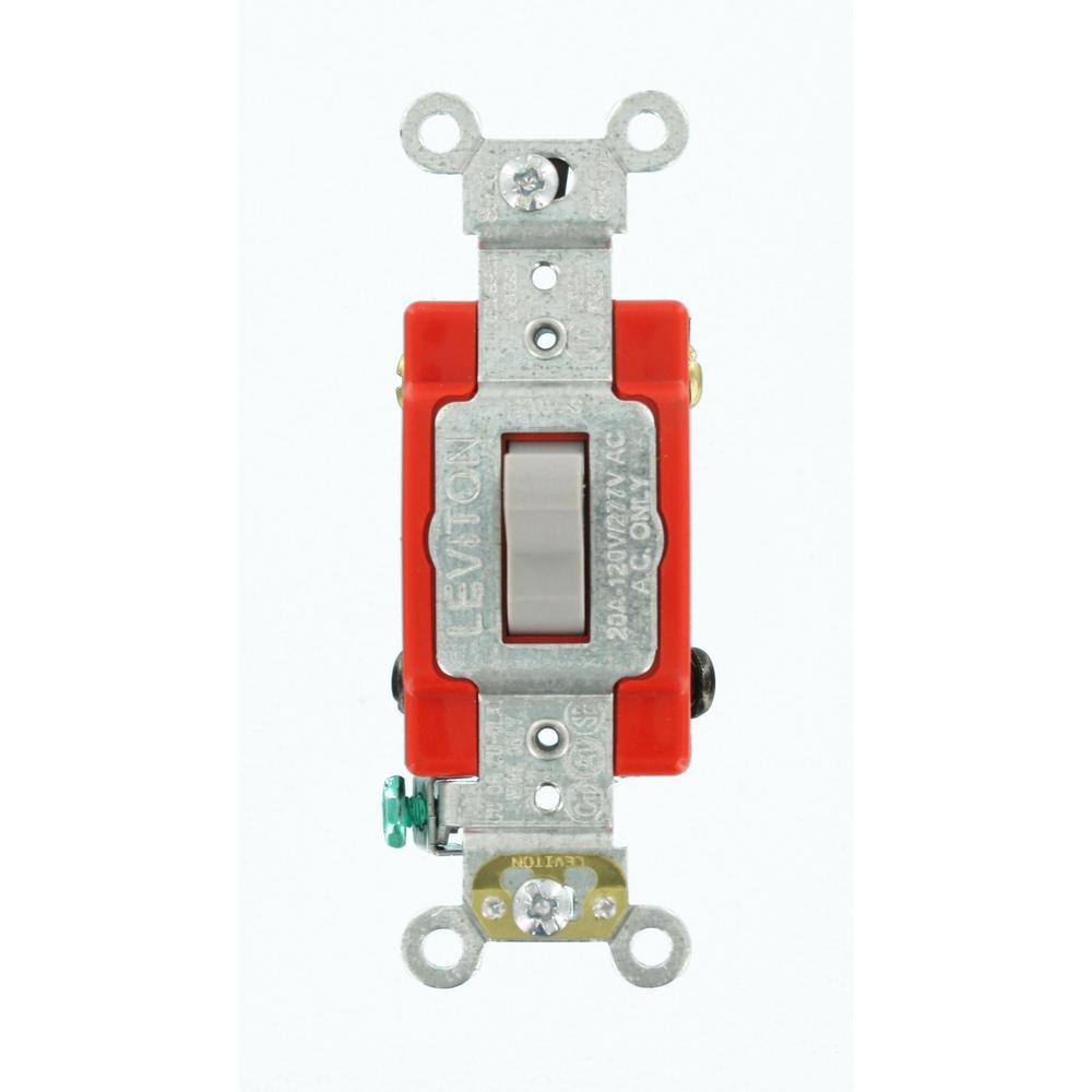 Leviton 20 Amp Industrial Grade Heavy Duty 4Way Toggle Switch Gray