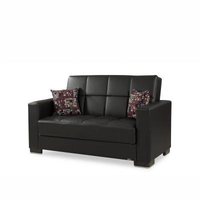 Armada Black Leatherette Upholstery Love Seat with Storage