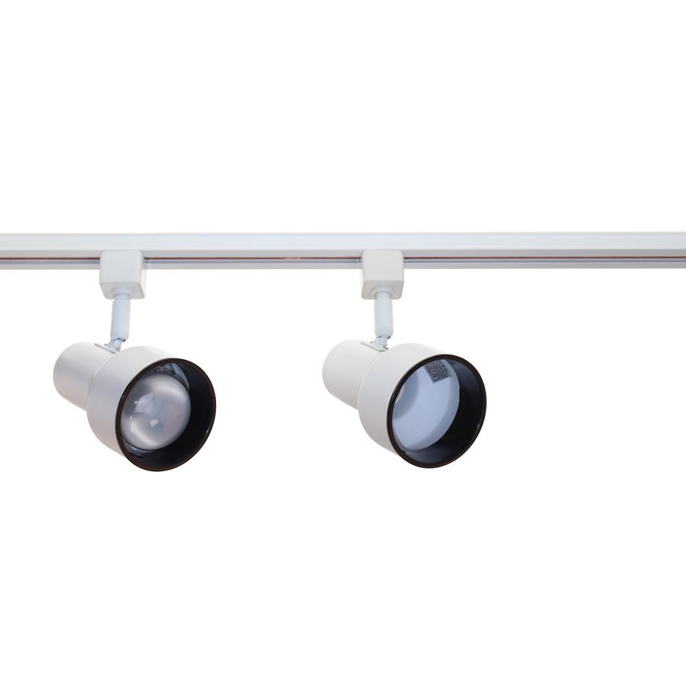 4 ft. 2 Light White with Black Baffle Track Lighting Kit