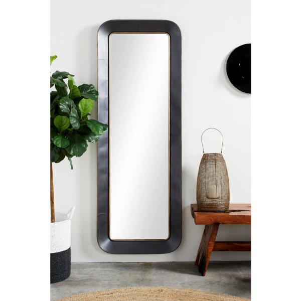 Litton Lane Large Rectangular Metal Wall Mirror With Decorative Gold Trim 25 In X 70 In 53320 The Home Depot