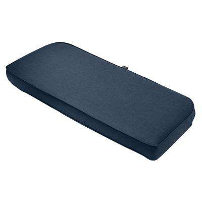 Montlake FadeSafe Heather Indigo 41 in. x 18 in. Contoured Outdoor Bench Cushion