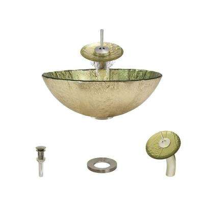 Glass Vessel Sink in Gold Foil with Waterfall Faucet and Pop-Up Drain in Brushed Nickel