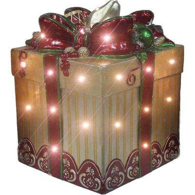 22 in. Christmas Tall Square Gift Box with Bow in Gold/Red with Long-Lasting LED Lights
