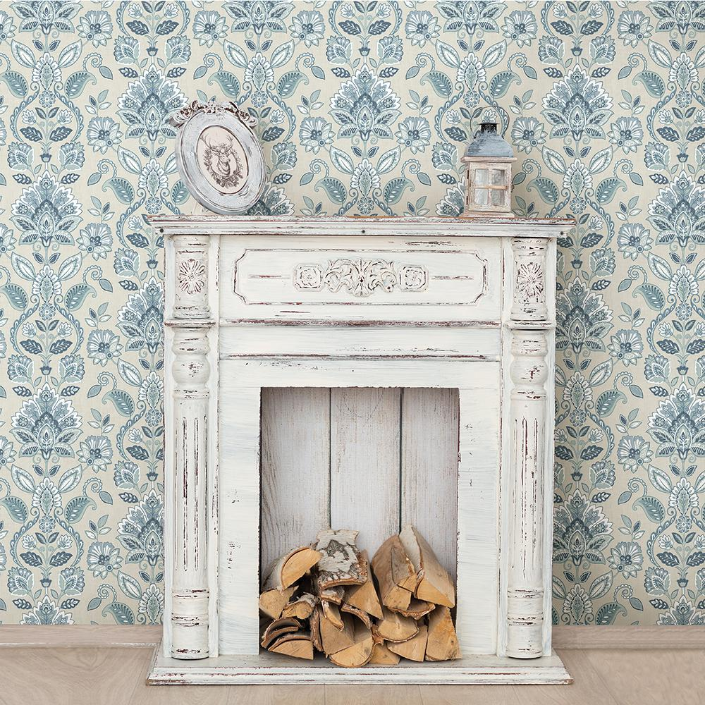 Chesapeake Rayleigh Blue Floral Damask Wallpaper
