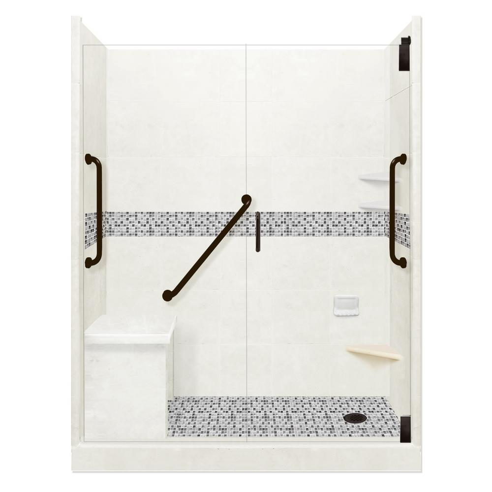 American Bath Factory Del Mar Freedom Grand Hinged 30 in. x 60 in. x 80 in. Right Drain Alcove Shower Kit in Natural Buff and Black Pipe