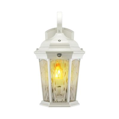 2-Light 14.6 in White Motion Sensing Integrated LED Outdoor Wall Lantern Sconce with Flickering Bulb/Clear Glass