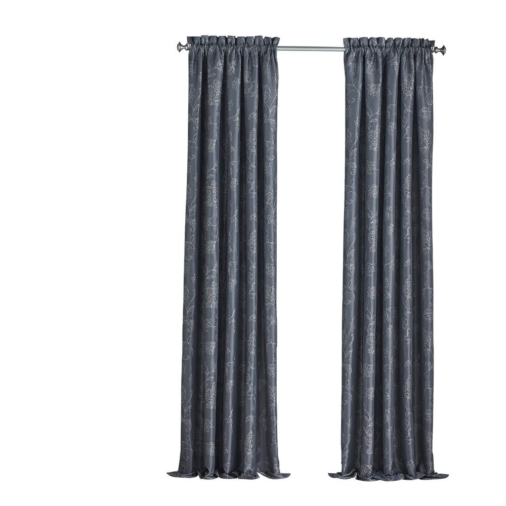Eclipse Mallory Blackout Floral Window Curtain Panel in Midnight - 52 in. W x 84 in. L