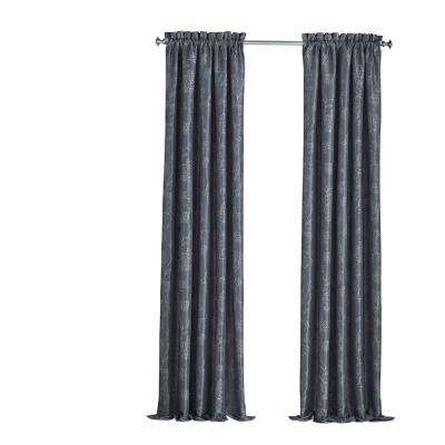 52 in. W x 84 in. L Mallory Blackout Floral Window Curtain Panel in Midnight