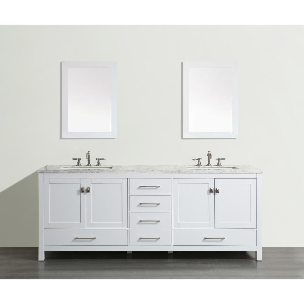Aberdeen 59.2 in. W x 22 in. D x 35 in. H Vanity in White with Carrara Marble Vanity Top in White with White Basin