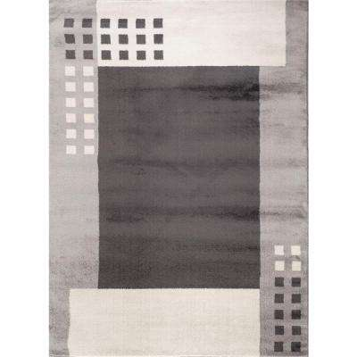 Contemporary Modern Boxes Design Gray 2 ft. x 3 ft. Indoor Area Rug
