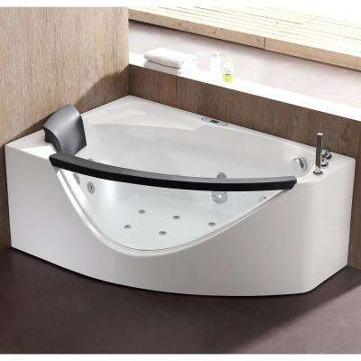 59 in. Acrylic Right Drain Corner Apron Front Whirlpool Bathtub in White