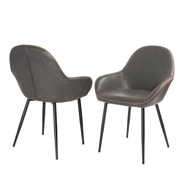 Glitzhome S 2 Mid Century Modern Vintage Gray Leatherette Dining Arm Chair 1005202154 The Home Depot