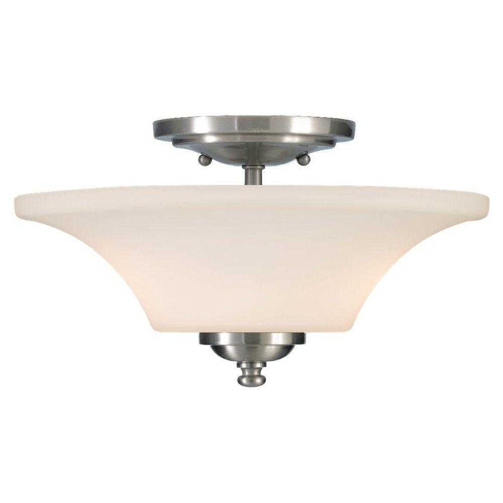 Sea Gull Lighting Barrington 13 in. W. 2-Light Stainless Steel Semi-Flush Mount Light with Opal Etched Glass Shade