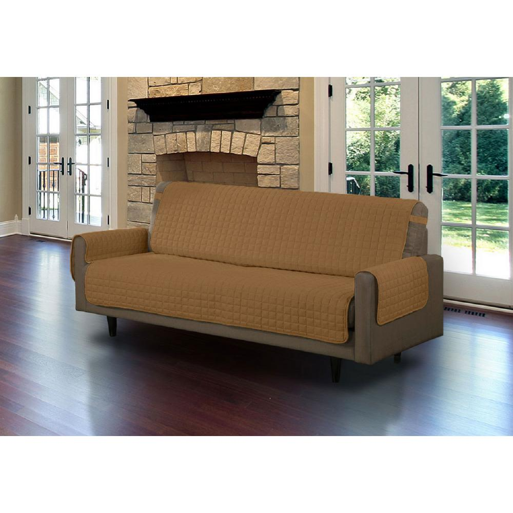 Camel Microfiber Sofa Pet Protector Slipcover With Tucks And Strap