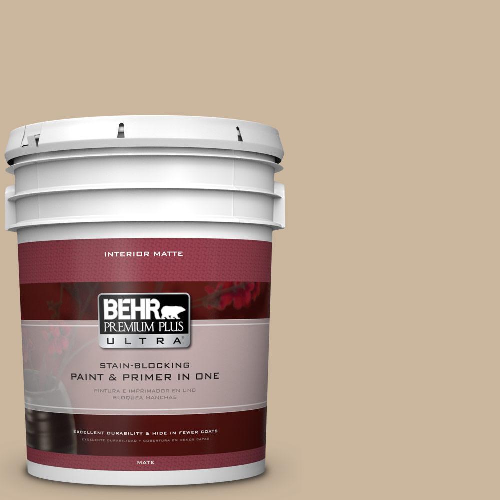 5 gal. #PPU4-7 Mushroom Bisque Matte Interior Paint and Primer in