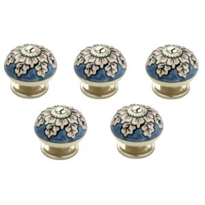 Mascot Hardware Flowers 1-3/5 inch (41 mm) Blue and Cream Cabinet Knob (Pack of... by Mascot Hardware