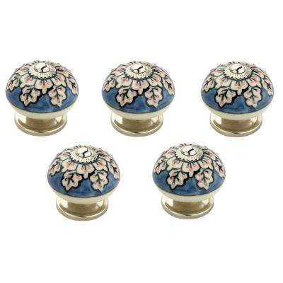 Flowers 1-3/5 in. (41 mm) Blue and Cream Cabinet Knob (Pack of 5)
