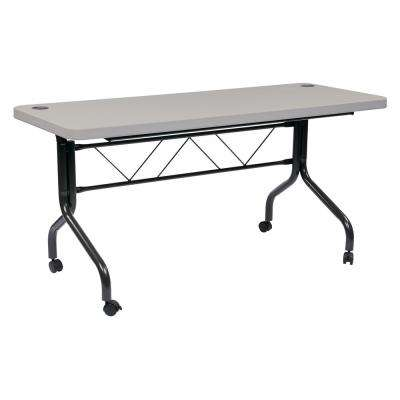 5 ft. Multi-Purpose Gray Resin Flip Table with Locking Casters