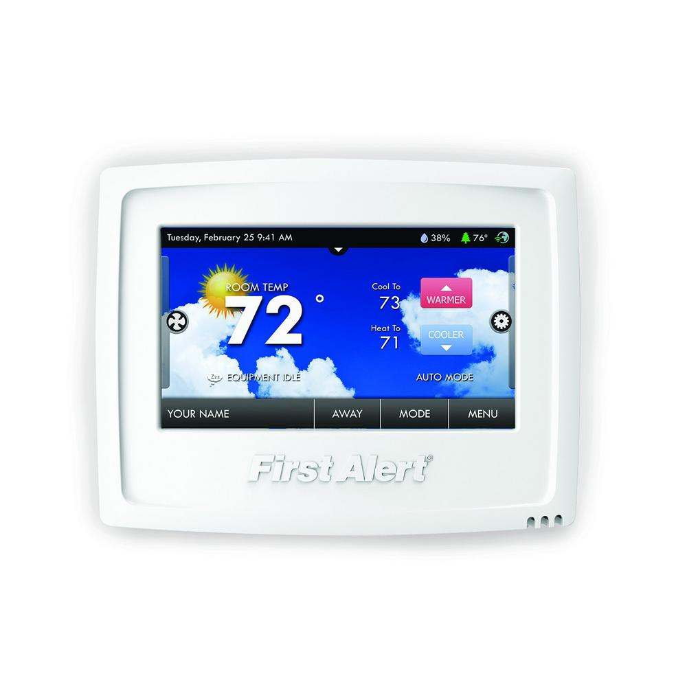 first alert onelink wi fi programmable touchscreen thermostat therm 500 the home depot. Black Bedroom Furniture Sets. Home Design Ideas