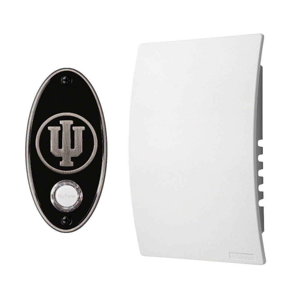 NuTone College Pride Indiana University Wired/Wireless Door Chime Mechanism and Pushbutton Kit - Satin Nickel