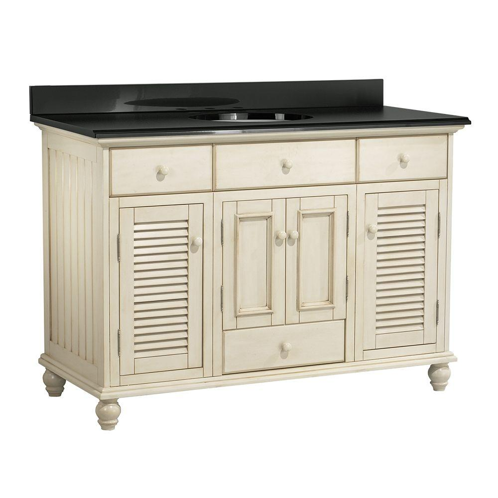 Foremost Cottage 49 in. Vanity with Colorpoint Vanity Top in Black