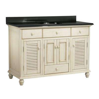 Cottage 49 in. Vanity with Colorpoint Vanity Top in Black