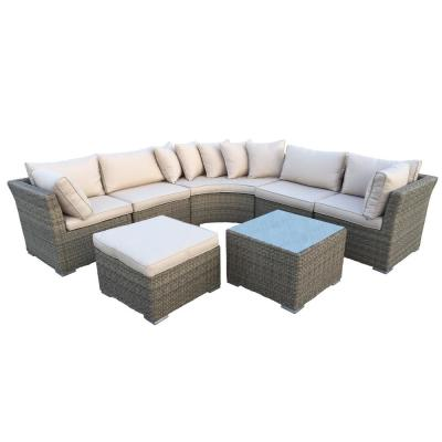 Borneo Modular 7-Piece Wicker Patio Sectional Seating Set with Oatmeal Cushions