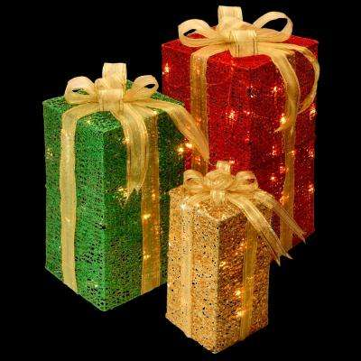 pre lit sisal gift box assortment - Outdoor Christmas Decorations Gift Boxes