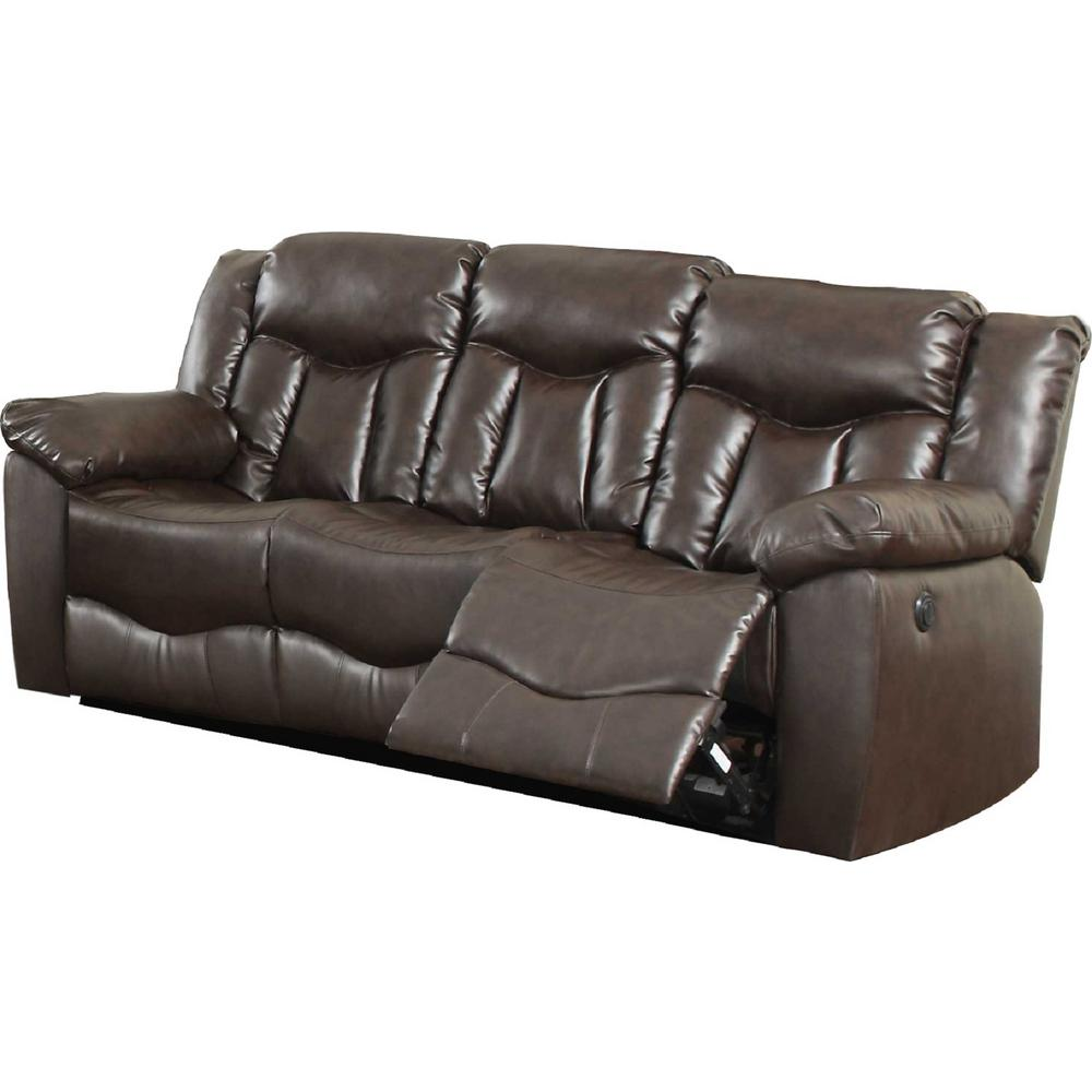 Brown Bonded Leather Motion Sofa 2 Reclining Seats