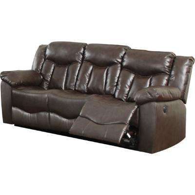Brown Bonded Leather Motion Sofa (2 Reclining Seats)