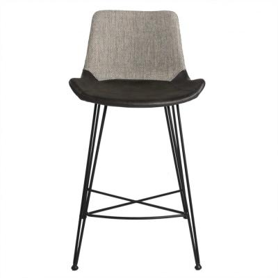 Amelia 35.83 in Light Gray with Matte Black Legs Bar Stool