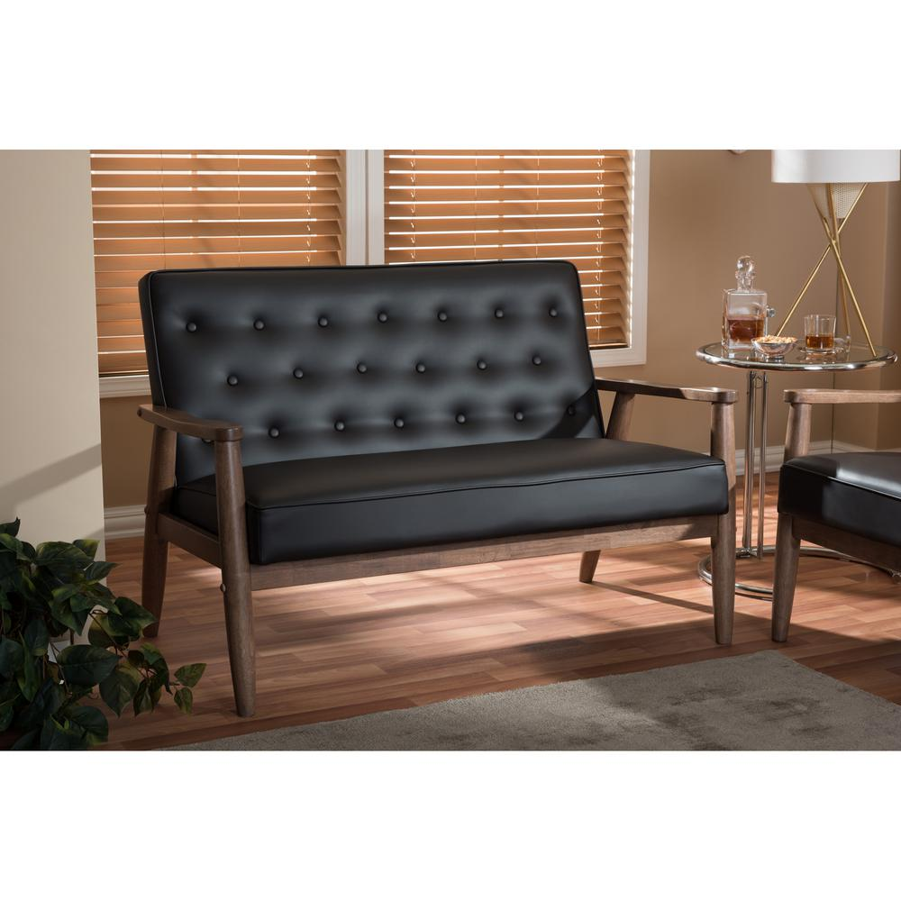 Sorrento Mid-Century Brown Faux Leather Upholstered Loveseat