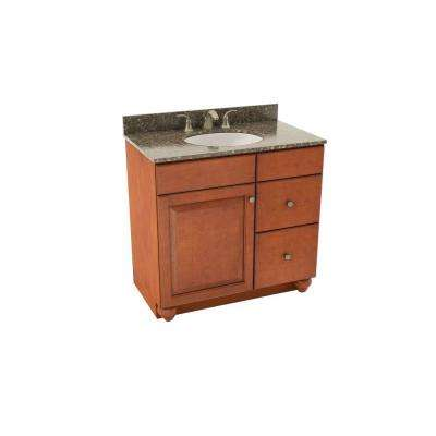 Charlottesville 37 in. Vanity in Cognac w/ Right Drawers and Silestone Quartz Vanity Top in Mountain Mist and Oval White