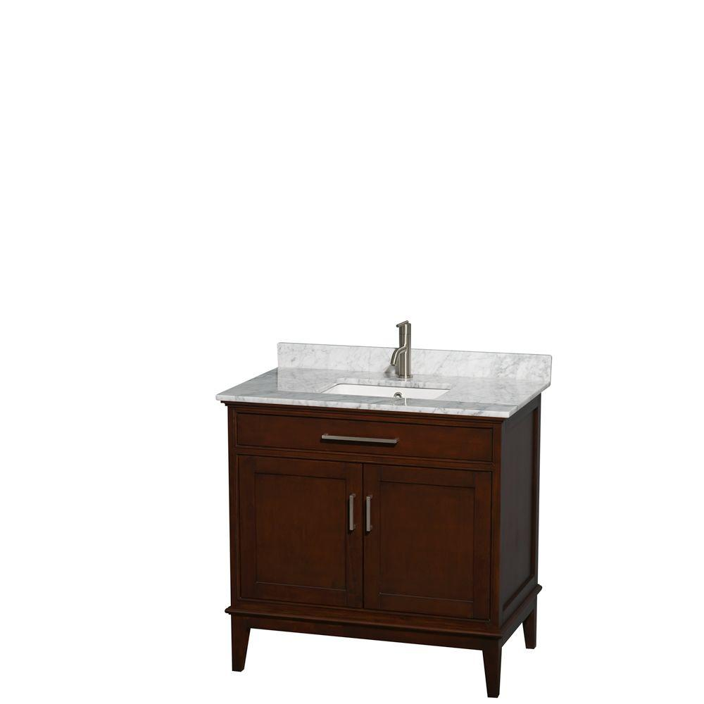 Wyndham Collection Hatton 36 in. Vanity in Dark Chestnut with Marble Vanity Top in Carrara White and Square Sink