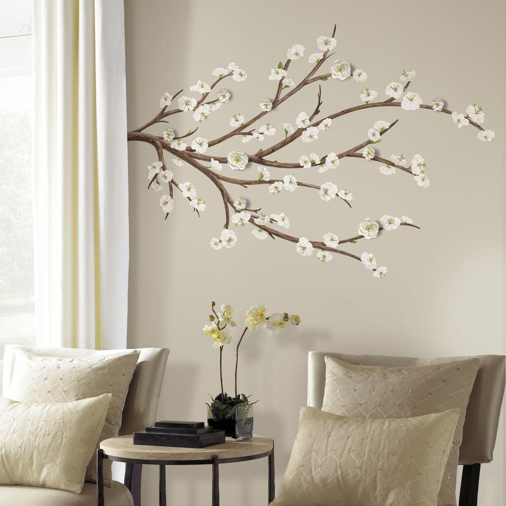 5 in x 19 in white blossom branch with embellishments 31 piece white blossom branch with embellishments 31 piece peel and stick giant wall decal rmk3201gm the home depot amipublicfo Gallery