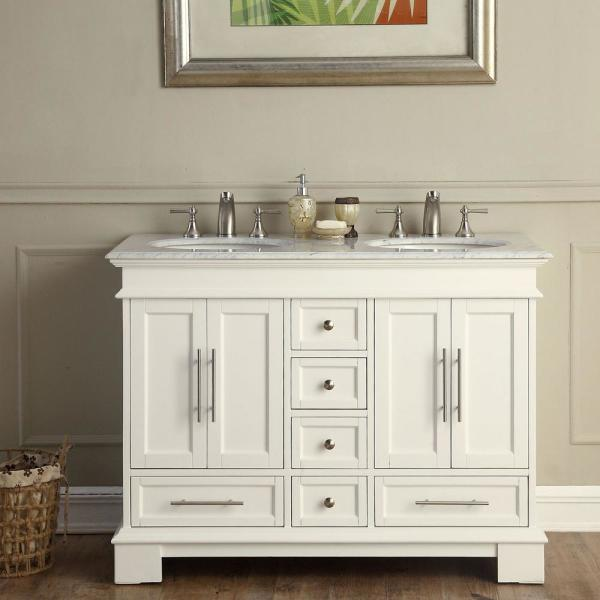 Silkroad Exclusive 48 In W X 22 In D Vanity In White With Marble Vanity Top In Carrara White With White Basin V0315ww48d The Home Depot