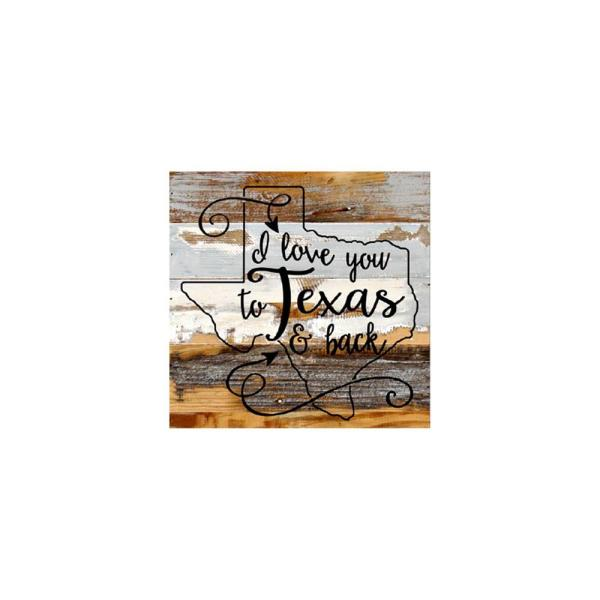 12 In X 12 In I Love You To Texas Back Printed Wooden Wall Art
