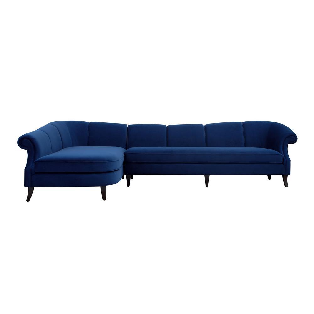 Upholstered Left Sectional Blue Sofa