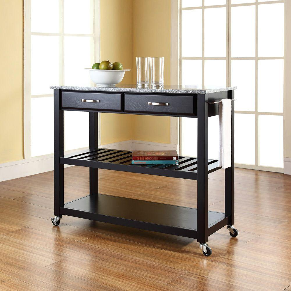 Excellent Crosley Black Kitchen Cart With Granite Top Kf30053Bk The Download Free Architecture Designs Scobabritishbridgeorg