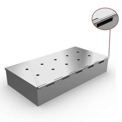 Smoker Box for BBQ Grill Wood Chips - 25% THICKER STAINLESS STEEL WON'T WARP - Charcoal & Gas Barbecue Smoking Hinge Lid