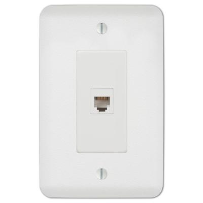 Perry 1 Gang Phone Steel Wall Plate - White