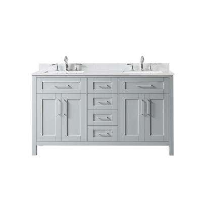 Tahoe 60 in. W Bath Vanity in Dove Grey with Cultured Marble Vanity Top in White with White Basins