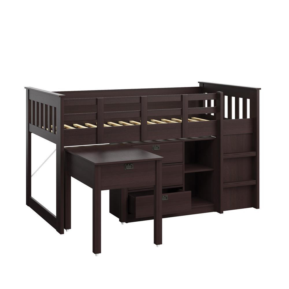Madison 4 Piece All-in-One Single/Twin Loft Bed in Rich E...