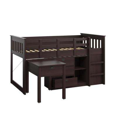 Madison 4 Piece All-in-One Single/Twin Loft Bed in Rich Espresso