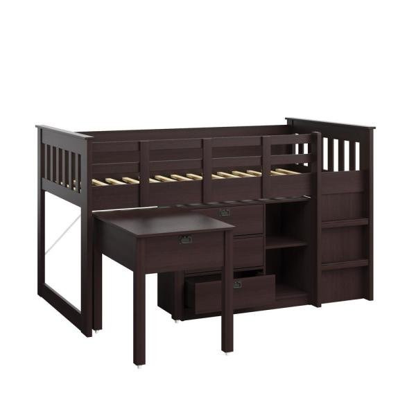CorLiving Madison 4 Piece All-in-One Single/Twin Loft Bed in Rich Espresso