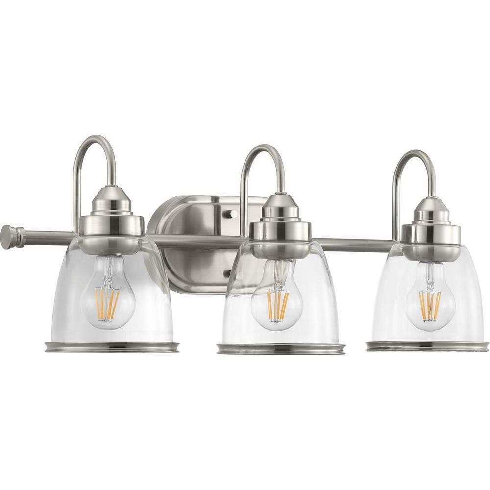 Saluda Collection 3-Light Brushed Nickel Bath Light