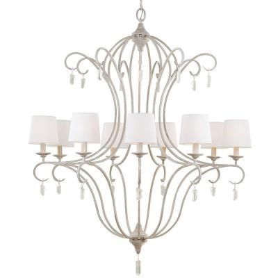 Caprice 37 in. W 9-Light Chalk Washed Chandelier with White Linen Shades